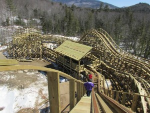Looking back down the lift hill from the top.